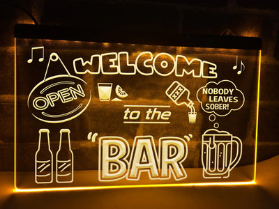 Welcome to the Bar Illuminated Sign