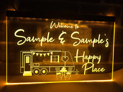 Happy place personalized caravan trailer sign