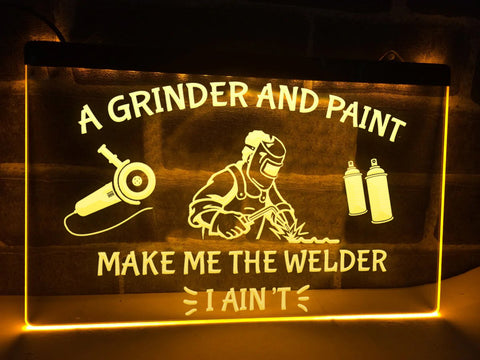 Image of Grinder and Paint Illuminated Sign