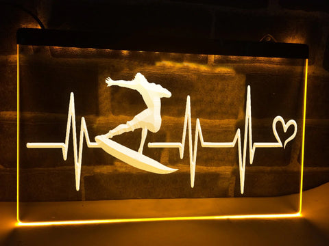 Surfers Heartbeat Illuminated Sign