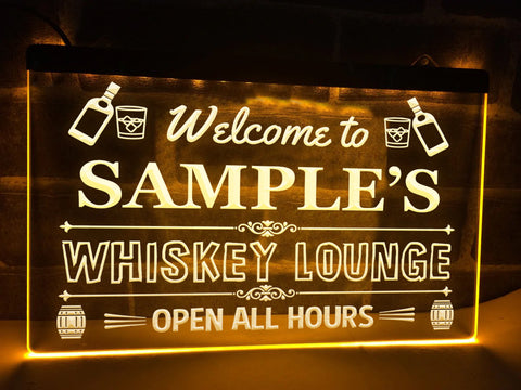 Image of Welcome to My Whiskey Lounge Personalized Illuminated Sign