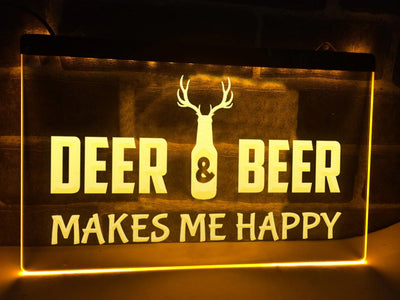 Deer and Beer Illuminated Sign