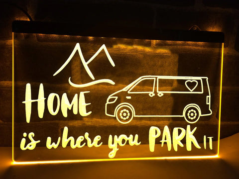 Image of T5 Camper Home is Where You Park it Illuminated Sign
