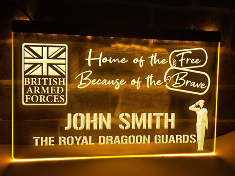Image of British Armed Forces Personalized Illuminated Sign