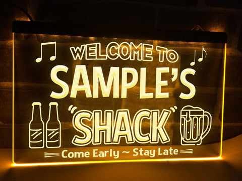 Image of Welcome to My Shack Personalized Illuminated Sign