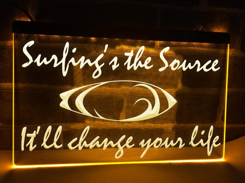 Image of Surfing's the Source Illuminated Sign