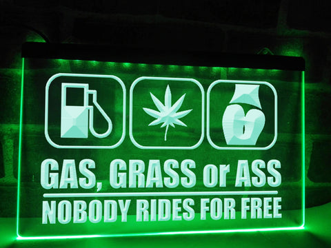 Image of Gas, Grass or Ass Funny Illuminated Sign