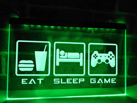 Image of Eat Sleep Game Illuminated Sign