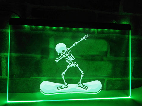 Dabbing Snowboard Skeleton Illuminated Sign