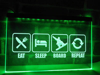 Eat Sleep Board Illuminated Sign