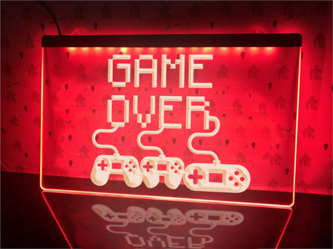 Image of Game Over Controllers Illuminated Sign