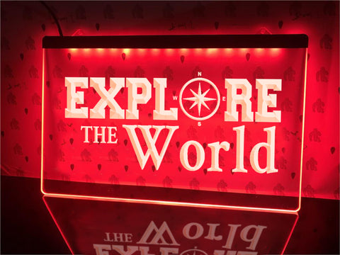 World Exploration Illuminated Sign