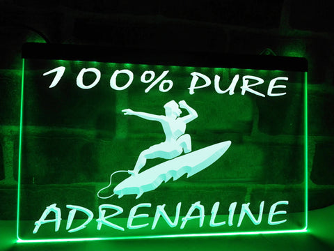 100% Pure Adrenaline Illuminated Sign