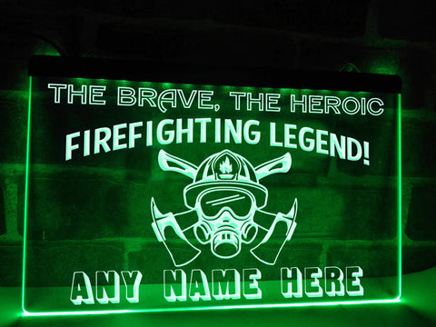 Image of Firefighting Legend Personalized Illuminated Sign