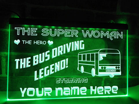 Image of Bus Driving Superwoman Personalized Illuminated Sign