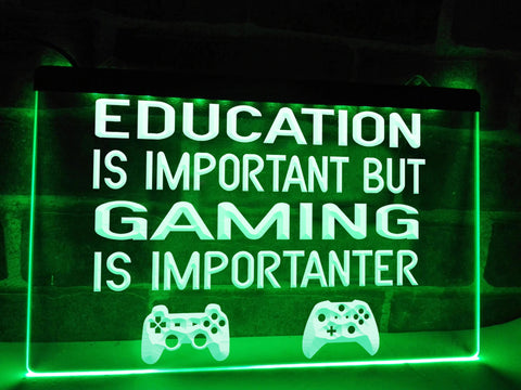 Image of Gaming is Importanter Illuminated Sign