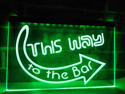 This Way to the Bar Illuminated Sign
