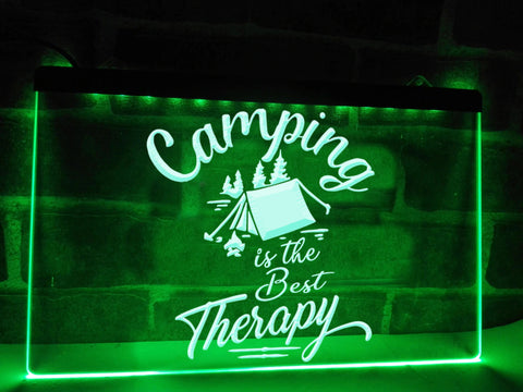 Image of Camping is the Best Therapy Illuminated Sign