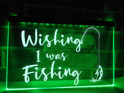 Wishing I was Fishing Illuminated Sign