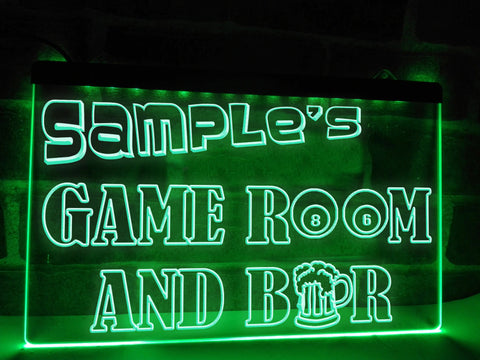 Image of Game Room and Bar Personalized Illuminated Sign