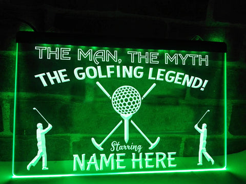 Image of The Golfing Legend Personalized Illuminated Sign