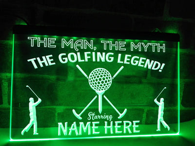The Golfing Legend Personalized Illuminated Sign