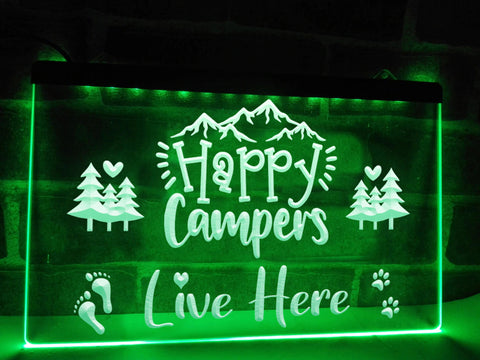 Image of Happy Campers Live Here Illuminated Sign