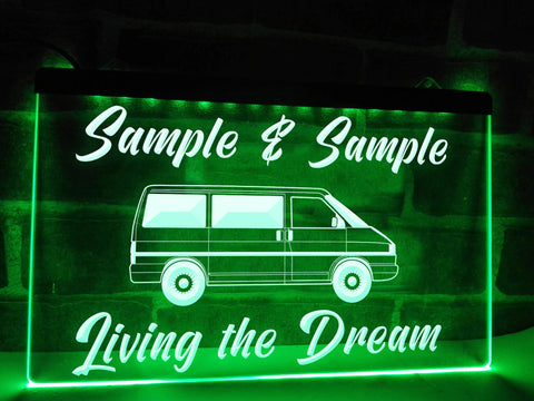 Image of T4 Living the Dream Personalized Illuminated Sign