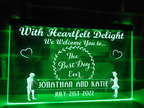 best day ever neon wedding sign green