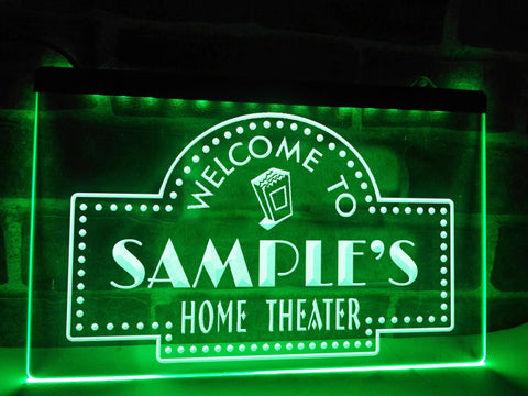 Image of Home Theater Personalized Illuminated Sign