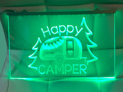 Image of Happy camper Caravan trailer neon sign green
