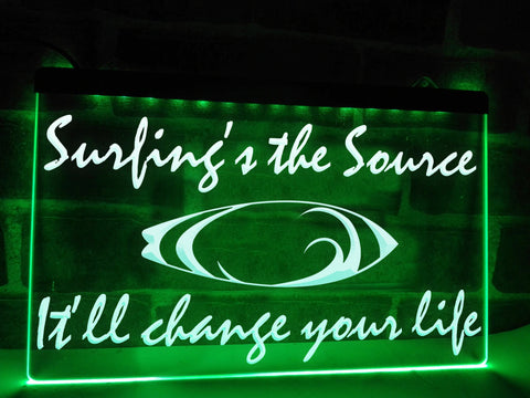 Surfing's the Source Illuminated Sign