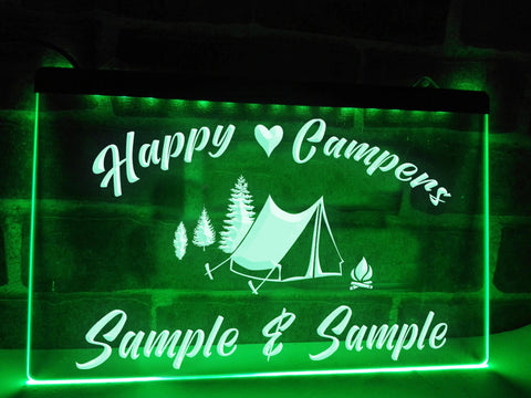 Image of Happy Campers in Tent Personalized Illuminated Sign