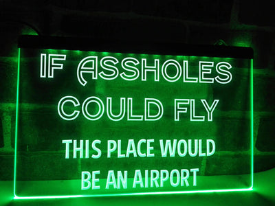 If Assholes Could Fly Funny Illuminated Sign