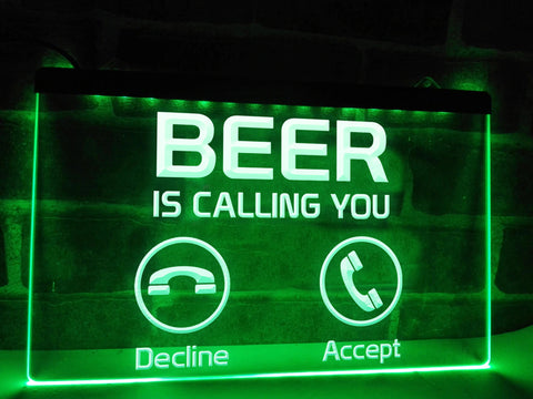 Image of Beer is calling neon bar sign