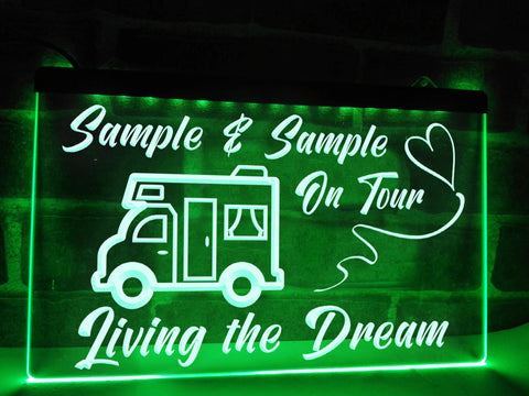 motorhome on tour personalized neon sign green
