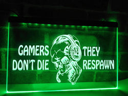 Gamers Don't Die - Skull Gamer Illuminated Sign