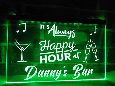 Image of Happy Hour Bar Sign Green
