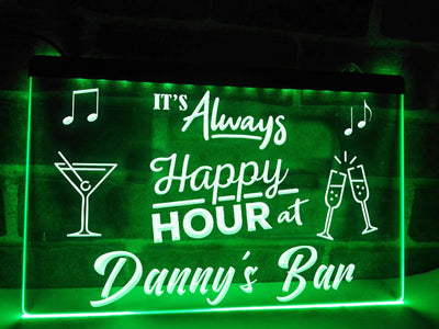 Happy Hour Bar Sign Green