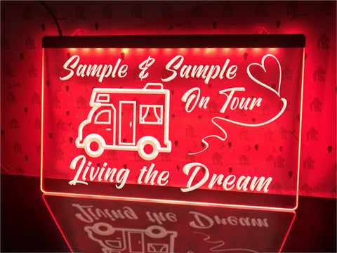 Image of motorhome on tour personalized neon sign red