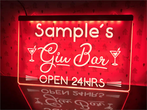 Neon Gin Bar Sign Red