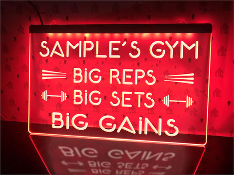 Image of Big gains neon gym sign red