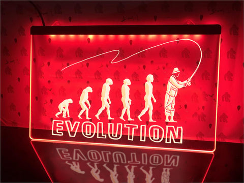 Image of Fishing Evolution Illuminated Sign
