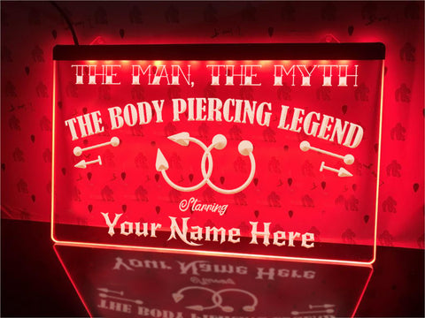 Image of Body Piercing Legend Personalized Illuminated Sign