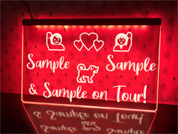 On Tour with Dog Personalized Illuminated Sign