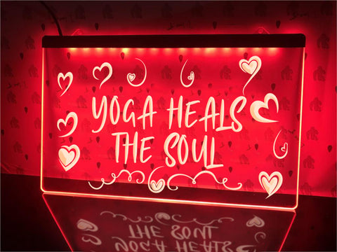 Image of Yoga Heals the Soul Illuminated Sign