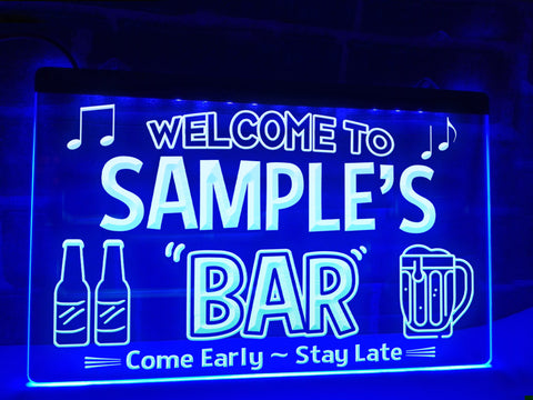 Personalized Neon Bar Sign Blue