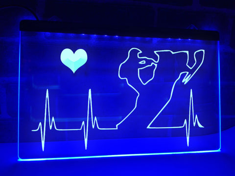 Snowmobiler's Heartbeat Illuminated Sign