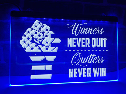 Image of Winners Never Quit Illuminated Sign