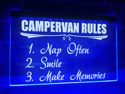 Campervan Rules Illuminated Sign